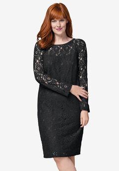 Lace Shift Dress, BLACK, hi-res