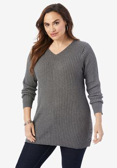 Side-Button Tunic Sweater,