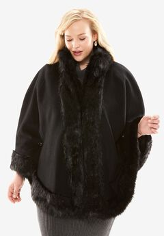 Faux Fur Trim Cape,
