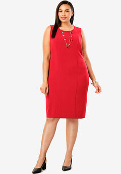 Tummy Control Bi-Stretch Sheath Dress, HOT RED