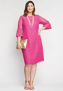 Bell Sleeve Lace Shift Dress,