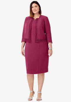 Lace Trim Jacket Dress,