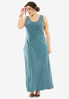 Sleeveless Maxi Dress, EXOTIC PEACOCK PRINT, hi-res