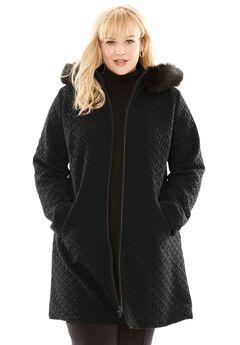 Faux Fur Hood Coat, BLACK, hi-res