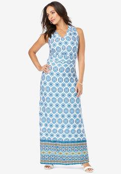 V-Neck Maxi Dress, BRILLIANT BLUE MEDALLION BORDER