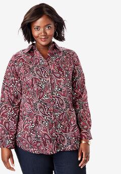 Poplin Shirt, BLACK FLOWER PAISLEY