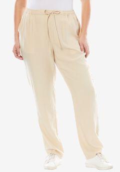 Tencel® Drawstring Pants, LIGHT SAND, hi-res