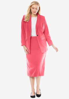 2-Piece Single-Breasted Skirt Suit, CORAL ROSE, hi-res