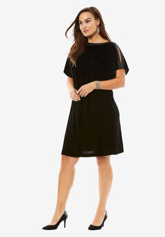 Ribbon Trim Velvet Shift Dress, BLACK, hi-res