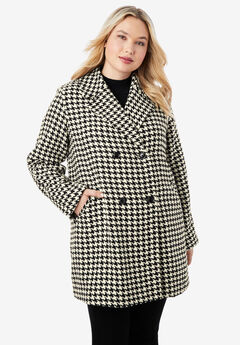 A-Line Peacoat, IVORY HOUNDSTOOTH