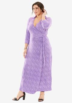 Wrap Style Maxi Dress, PURPLE SPACE DYE, hi-res