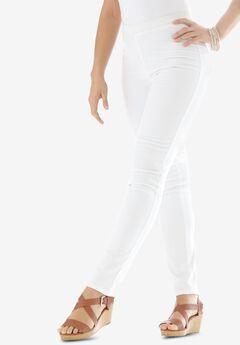 Straight Stretch Denim Jeggings, WHITE TWILL, hi-res
