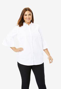 Pleated Sleeve Poplin Shirt,