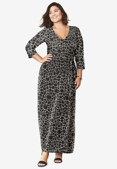 Faux Wrap Maxi Dress, BLACK GIRAFFE PRINT