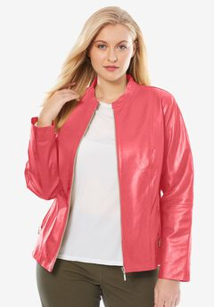 Zip Front Leather Jacket, CORAL ROSE, hi-res