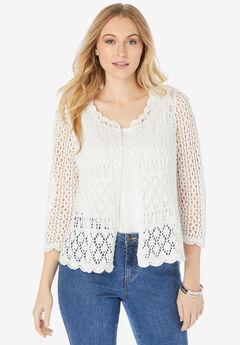 Crochet Sweater, WHITE