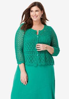 Crochet Sweater, VIVID EMERALD