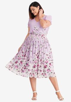 Smocked Midi Dress, BRIGHT LILAC ROSETTE FLORAL