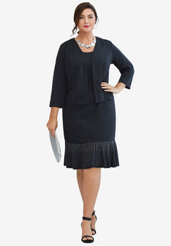 Ponte Jacket Dress, BLACK SPARKLE