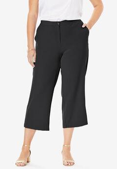Bi-Stretch Wide Leg Crop Pant,
