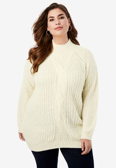 Cable Twist Sweater, IVORY
