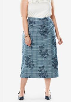 Wool-Blend Midi Skirt, TWILIGHT TEAL PLAID EMBROIDERY