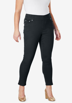 Comfort Waist Skinny Ankle Jean, BLACK