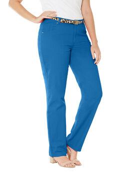 Classic Cotton Denim Straight Jeans, BRIGHT COBALT, hi-res