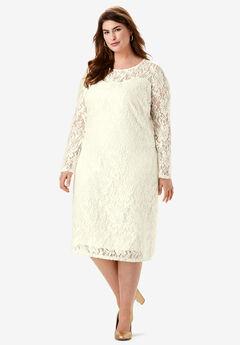Lace Shift Dress, IVORY