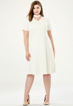 V-Inset Fit & Flare Dress,