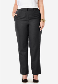 Wool-Blend Trousers, BLACK