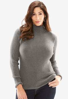 Turtleneck Sweater with Ribbing,