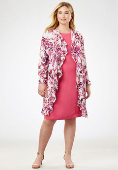Cascade Jacket Dress, PINK WISPY FLORAL