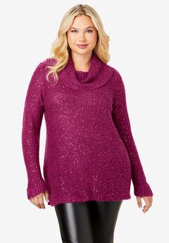 Sequin Cowl Neck Sweater,