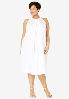Tencel® Tie-Neck Dress, WHITE
