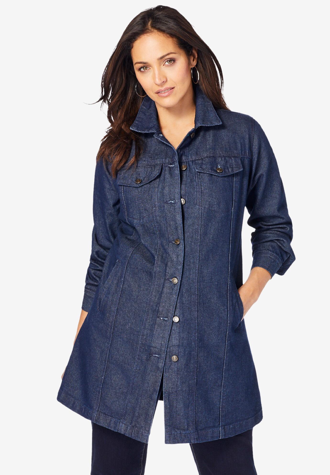 Roamans Womens Plus Size Long Denim Jacket