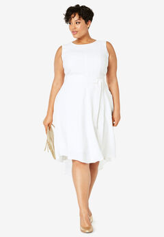 Tie-Waist Fit-And-Flare Dress, WHITE