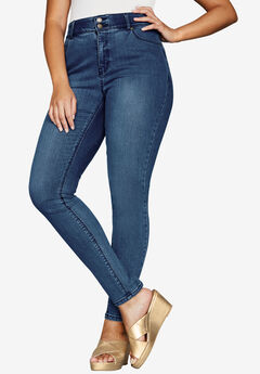 Tummy-Control Skinny Jeans, MEDIUM STONEWASH SANDED