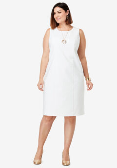 Tummy Control Bi-Stretch Sheath Dress, WHITE