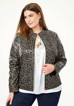 Zip Front Leather Jacket, PYTHON PRINT