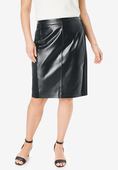 Leather and Ponté Knit Skirt, BLACK, hi-res