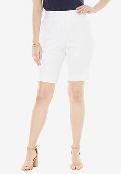Tummy Control Twill Shorts, WHITE, hi-res