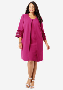 Lace Sleeve Jacket Dress, BRIGHT BERRY