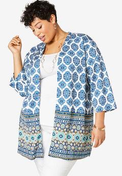 Kimono Jacket, NAVY MEDALLION BORDER
