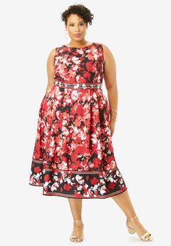 Fit & Flare Fashion Dress, LAYERED FLORAL BORDER