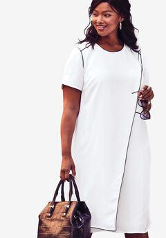 Asymmetric A-Line Dress, WHITE, hi-res