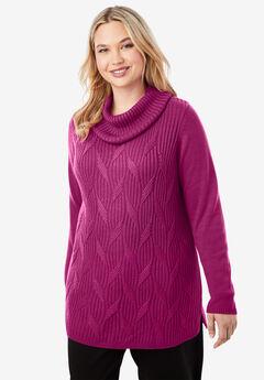 Cotton Cashmere Cowl Neck Sweater,