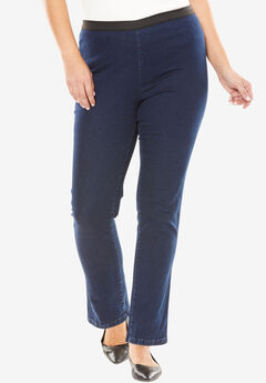 Straight Stretch Denim Jeggings, INDIGO, hi-res