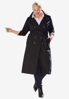Double Breasted Long Trench Coat, BLACK, hi-res