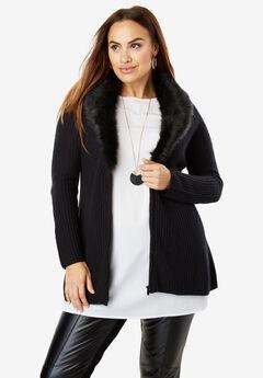 Fur-Trim Cardigan Sweater,